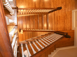 aerial view of custom staircase by Vintage Millworkl