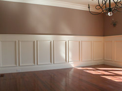 Custom wainscot, chair rail, and crown moulding