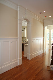 Custom wainscoting, chair rail, and crown moulding